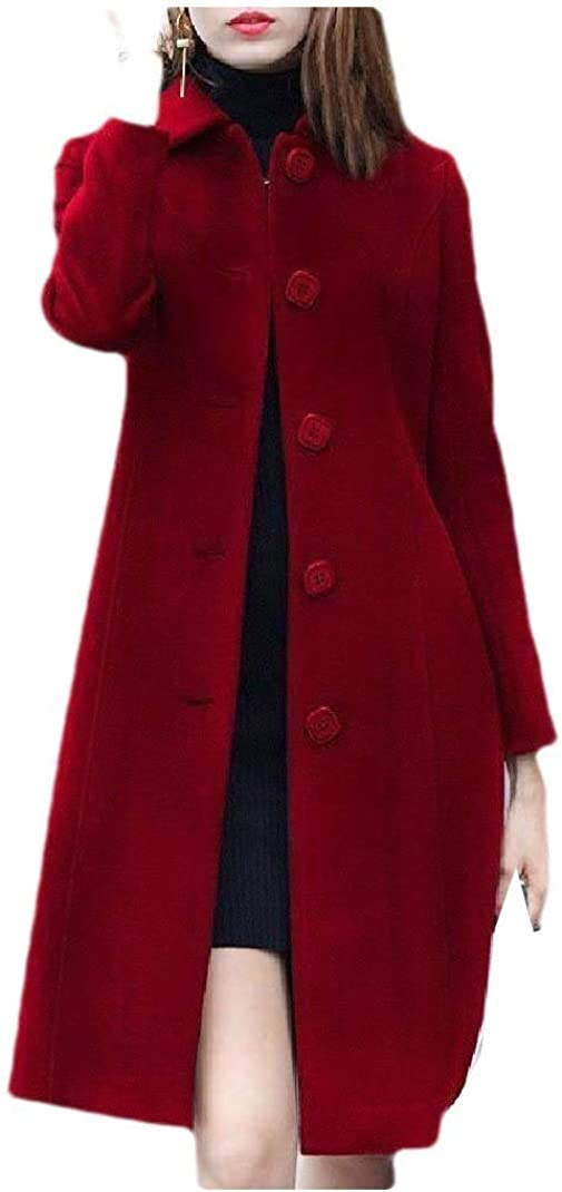 Doufine Womens Mid Long Turn-Down Collar Solid Colored Single Button Fit Outwear