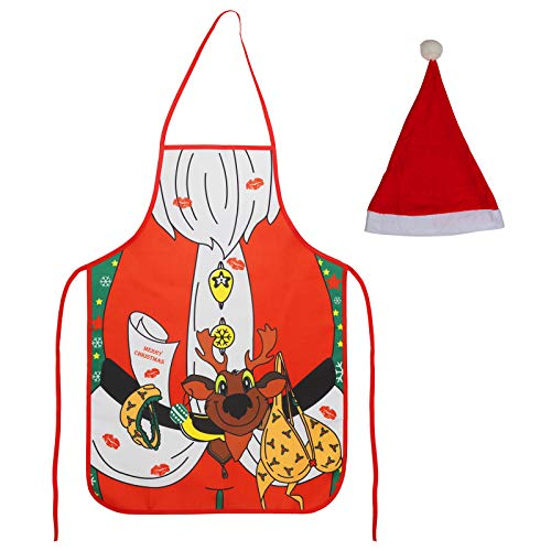 AirSMall 2PCS Funny Christmas Aprons with Santa Hats, Chef Christmas Printed Aprons Waterproof for Cooking Christmas Party Cafe, Restaurant, Cooking Baking Unisex (Red)