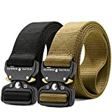 Fairwin Tactical Belt, 1.5 Inch Wide Heavy Duty Military Style Tactical Belts for men (Black+Tan, M-waist(36'-42'))