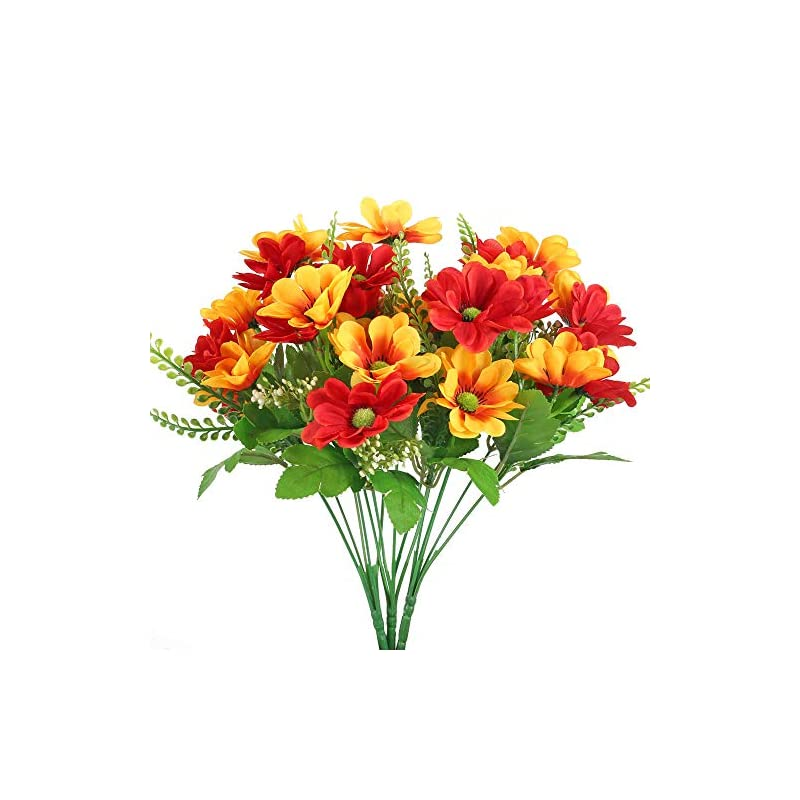 silk flower arrangements ailanda 3pcs silk flowers bouquets red and yellow artificial cherry blossom fake foliage greenery faux plants shrubs for home table centerpieces decoration