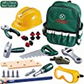 KEJIH Deluxe Power Toy Tool Sets Pretend Play Kids Tool Set Tool Kit Construction Tool with Electric Cordless Drill,Goggles,Bracelet /Ruler,Whistle,Storage A Sturdy Oxford Schoolbag. All-Round Gifts by KEJIH