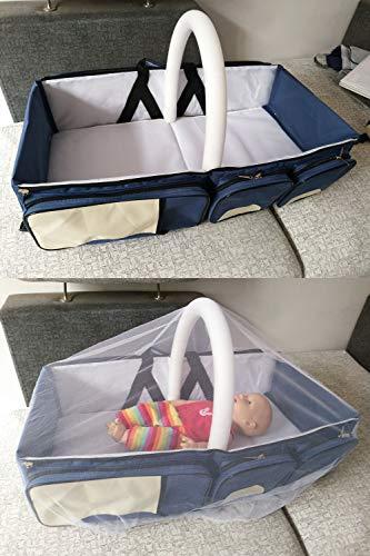 3 in 1 Wickeltaschen für Babys, Multifunktional tragbar Baby-Reisebett Krippe Wickeltasche Faltbar Tragetasche für 0-12 Monate, Dunkelblau - 6