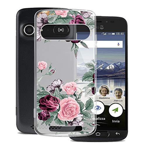 JIENI Hülle für Doro 8040,Weich Flexibel Semi-Transparent Silikon Handyhülle Rote Rose Schutzhülle Hülle Bumper Handytasche TPU Schale Cover für Doro 8040 (5.0