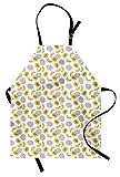 ABAKUHAUS Melone Grembiule da Cucina, Monochrome Frutta Sketch Art, Lavabile a Lavatrice Resistente all'Acqua Non sbiadenti, Arancione Grigio