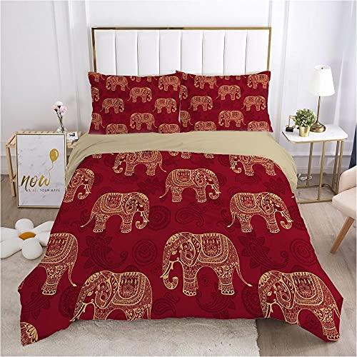 QDoodePoyer Juego de Cama - Juego de Funda Edredón 135x200cm Rojo Fondo Animal Elefante con 2 Fundas de Almohada 50x75cm de Microfibra y Suave Juego de Cama para niños y niñas