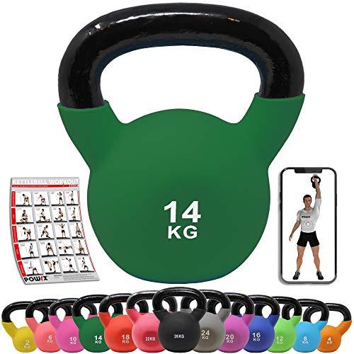 POWRX Kettlebell Hierro Fundido 14 kg - Pesa Rusa con Revestimiento de Neopreno + PDF Workout (Verde)