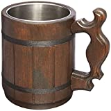 Handmade Beer Mug Natural Wood Stainless Steel Cup Gift Eco-Friendly 0.6L 20oz Classic...