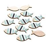 Logbuch-Verlag 12 pequeños peces de madera para espolvorear – Decoración natural azul y blanco – Decoración marítima como decoración de mesa bautizo comunión 3,5 cm