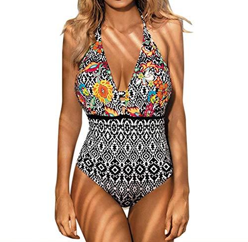 Jimmackey Monokini Costumi Interi Donna, Swimming Pin Up Costume Contenitivi One Piece Costumi da Bagno Push Up Trikini Imbottito Bohemian Piscina
