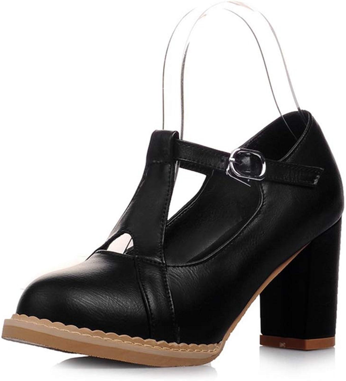 GIY Women's Mary Jane T-Strap Chunky Platform High Heel Pump Round Toe Uniform Work Dress Oxford shoes
