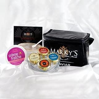 Marky's Caviar Nations Caviar Gift Basket - Hackleback Caviar - Paddlefish Caviar - Bowfin and Salmon Caviar - GUARANTEED OVERNIGHT