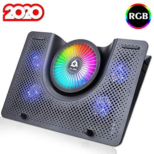 KLIM Nova + Base di Raffreddamento RGB per PC Portatili da 11' a 19' + Supporto di Raffreddamento per Laptop da Gaming + USB + Stabile e Silenzioso + Compatibile con Mac e PS4 + novità 2020