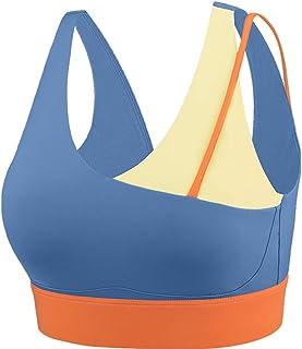 Sports Bra Yoga Bra Padded Splice Adjustable Sports Underwear Fitness Running Yoga Bra Women's Shockproof Blue Vest (Color...