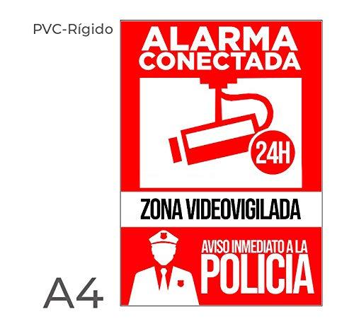 Cartel PVC rígido color rojo para color con silicona, pegamento. sobre superficies para disuadir posibles intrusos en vivienda a modo de cartel disuasorio de alarma instalada