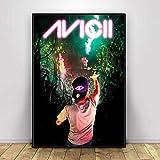WDQFANGYI Avicii Legend DJ Music Singer Star Póster Moderno Impresiones Pinturas Arte Lienzo Cuadros De Pared para Sala De Estar Decoración del Hogar 40X50Cm (FLL6725)