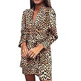 FRAUIT Vestiti Donna Sexy Sera Leopardato Vestito Ragazza Elegante Corto Manica Lunga Vestiti Discoteca Abiti Invernali Casual Abito Cerimonia Anni 70 Donna Hippie Matrimonio