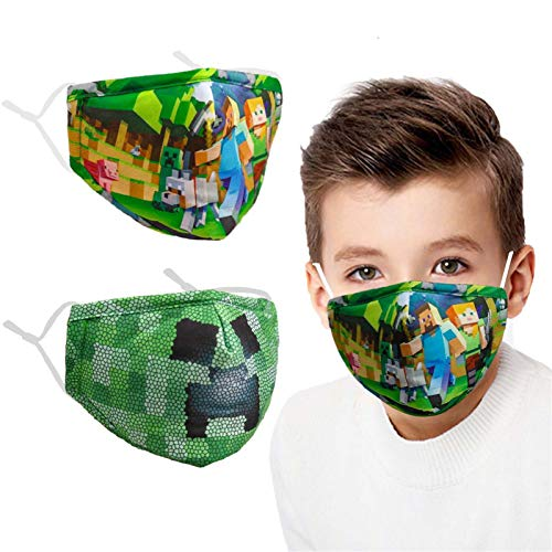 Washable Breathable Kids Face Mask Reusable Adjustable Ear Loops Protection, Cotton Cloth Layer Covering Fabric Cute Fashion Designer Madks Mascarilla...