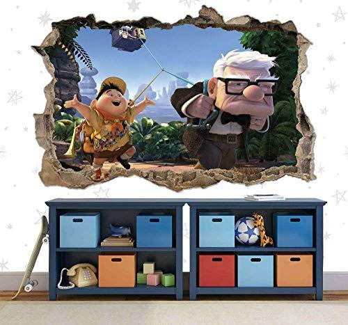 HUJL Pegatinas de pared Up Animación Película Grieta de pared Póster Papel tapiz de dormitorio para niños, calcomanía de vinilo,