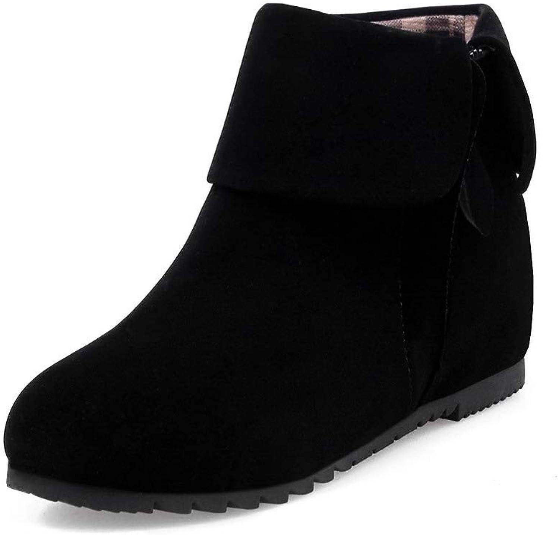 WeenFashion Women's Pu Zipper Closed-Toe Low-Heels Low-Top Boots, AMGXW050066