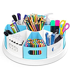 """MeCids 360°Rotating Desk Organizers Homeschool Office Organization and Storage Art Supplies Organizers– 12"""" Lazy Susan Style Caddy with Removable Bins, for Home Offices, School Supplies Kitchen Use"""