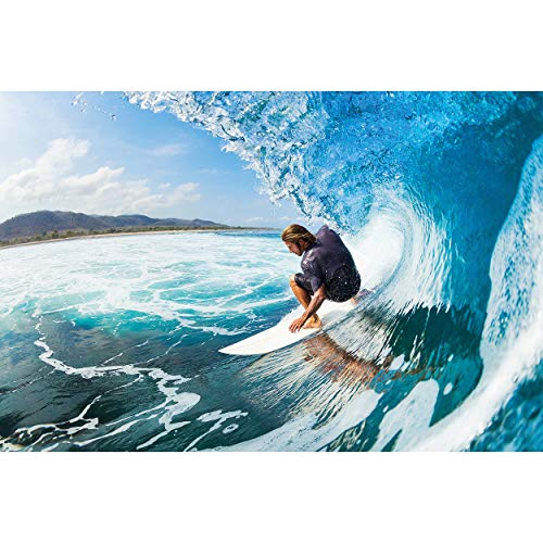GREAT ART XXL Póster – Surfista – Mural Deporte Mar Naturaleza Playa Ola Océano Tabla De Surf Deportes Acuáticos Cartel De La Pared Foto Y Decoración (140 X 100 Cm)