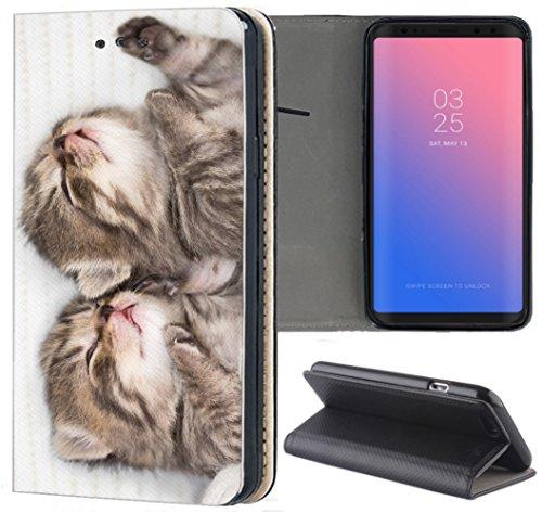 Hülle für Huawei P8 Lite 2015 Handyhülle Design 1328 Katzenbabys Kätzchen Katzen aus Kunstleder Schutzhülle Smart Cover Klapphülle Handy Case Hülle für Huawei P8 Lite 2015