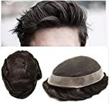 LYRICAL HAIR Toupee For Men Human Hair Undetectable French Lace Mens Replacement System Grey Black Brown Ash Blonde Poly Skin Around Mens Wig Hairpieces (7X9', #1B20 1B# OFF BLACK WITH 20% SYNTHETIC GREY)