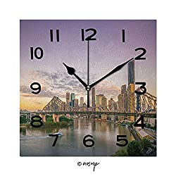 SUPFENG Print Square Wall Clock, 8 Inch Brisbane City Skyline and Brisbane River at Twilight in Australia Quiet Desk Clock for Home,Office,School