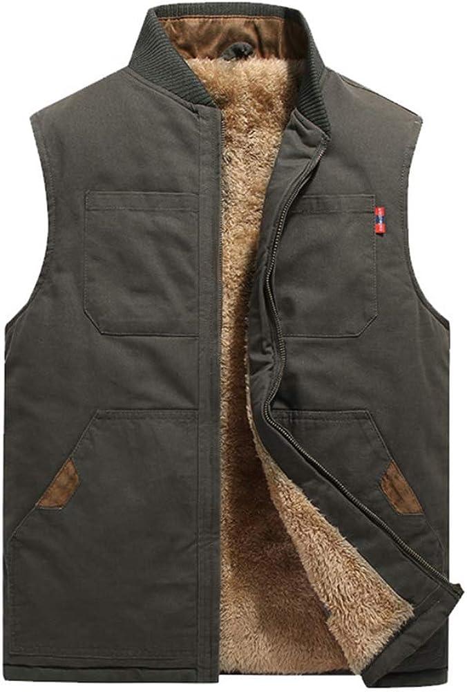 Arlita Men's Winter Warm Fleece Lined Vest Outdoor Utility Canvas Quilted Fishing Traveling Work Vest Jacket