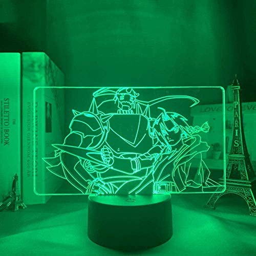 GEZHF 3D Illusion Lamp 16 Colors Changing with Remote 3D Lamp Anime Fullmetal Alchemist Edward Elric Light for Kids Child Bedroom Decor Night Light Birthday Gift Manga Lamp -16 Colors + Remote