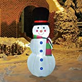 GOOSH 4Foot High Christmas Inflatable Snowman with Top Hat with The Build-in LED Light Yard Decoration, Indoor Outdoor Garden Christmas Decoration.