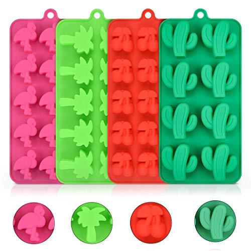 4PCS Silikon Formen für Süßigkeiten, Schokolade, Gummi, Kaktus, Flamingo, Kokosnussbaum und Kirsche für Herstellung von Hawaiianischem tropischem Thema