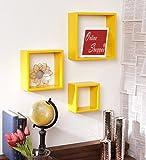 Onlineshoppee carré gigognes MDF étagère murale–Jaune