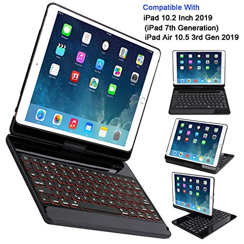 CWNOTBHY Keyboard Case for iPad 10.2 2019, iPad Air 10.5 2019, Backlit 360 Rotate Wireless Keyboard with Hard Back Cover, iPad 7th Generation Case with Keyboard (Black)