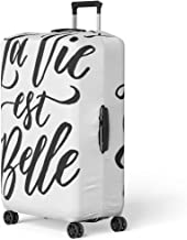 Pinbeam Luggage Cover French La Vie Est Belle Meaning Life Travel Suitcase Cover Protector Baggage Case Fits 18-22 inches