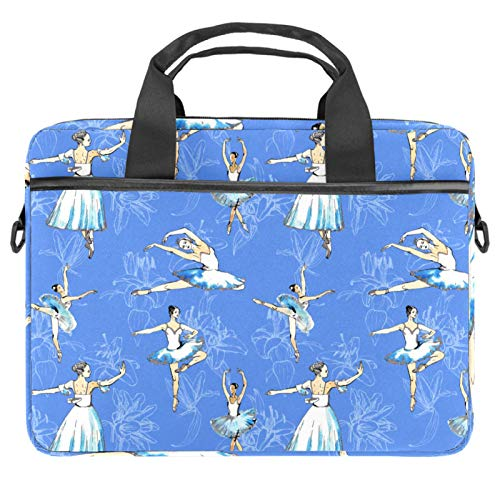 13-14.5 Inch Laptop Sleeve Case Ballet Dancers and Lilies Light Blue Protective Cover Bag Portable Computer Notebook Carrying Case Briefcase Message Bag