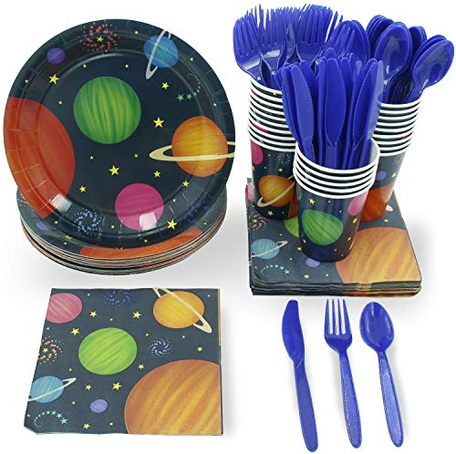 Outer Space Party Supplies – Serves 24 – Includes Plates, Knives, Spoons, Forks, Cups and Napkins. Perfect Outer Space Birthday Party Pack for Kids Planet Themed Parties.