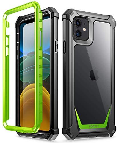 Poetic Apple iPhone 11 Custodia, Custodia Full-Body Ibrida Antiurto Paraurti, Proteggischermo Integrato, Serie Guardian, Custodia per Apple iPhone 11(2019),Verde/Chiaro