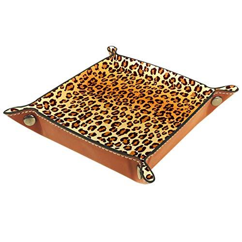 LynnsGraceland Bandeja de Cuero - Organizador - Textura de Piel de Leopardo - Práctica Caja de Almacenamiento para Carteras,Relojes,Llaves,Monedas,Teléfonos Celulares y Equipos de Oficina