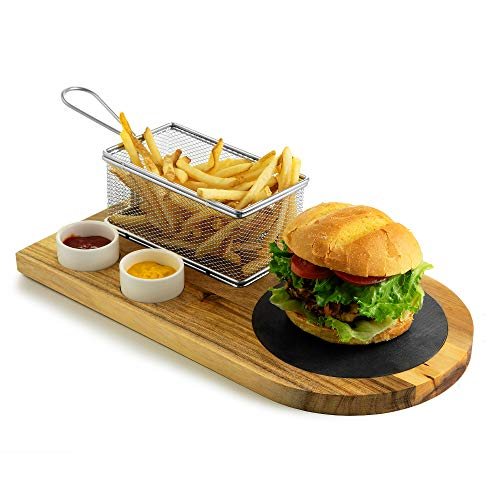 Yukon Glory Burger Serving set, Includes Premium Acacia Wood Board With Slate, Stainless Steel Fry Basket, Porcelain Condiment Cups,