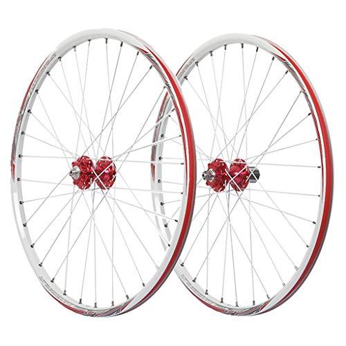 LSRRYD Ciclismo Ruedas MTB Juego Ruedas Bicicleta 26 Pulgadas Llanta Aleación Doble Pared Freno Disco 7-11 Velocidad Hub Sellado Liberación Rápida Neumáticos 1.5-2.1' 32H (Color : White)