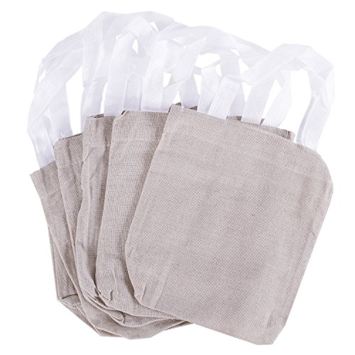 8 x 8 Canvas Tote Sacks Natural Color for Arts Crafts Reusable Grocery Bags Decoration Party Favors 12 Pack