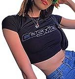 Women's Graphic Print Crop Shirt Kawaii Summer O Neck Short Sleeve Tee Top E Girl Y2k Aesthetic Clothes(E Cosmic Black,S)