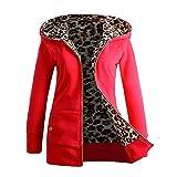 iHENGH Damen Winter Jacke Dicker Warm Bequem Slim Parka Mantel Lässig Mode Reißverschluss Frauen Plus Samt verdickter mit Kapuze Pullover Leopard Zipper(Rot, S)