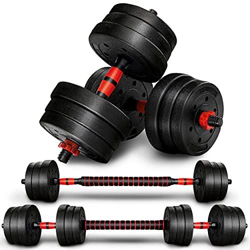 RE:SPORT 2 in 1 Hanteln Set 20 kg   Hantelset verstellbar   Kurzhantel & Langhantel   Sternverschlüsse & Verbindungsrohr