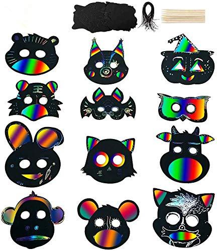 Queta Maske Unbemalt, 24 Sets Kratzpapier Tiermasken zum bemalen DIY Masken mit Gummiband und Holzstift für Party, Karneval, Cosplay, Kostüm, Halloween, Weihnachten