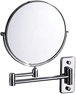 Bathroom Makeup Mirror Wall Hanging Folding Double-Sided Beauty Dressing Stretching with 1X/3X Magnification Two-Sided 360°Swivel Design Extendable Bathroom Mirror, Silver