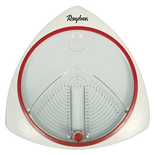 Rayher 89770000 Kreisschneider Mit 3 Ersatzklingen, Durchmesser 2, 4-15, 3Cm, 1 Stück, Metall, Weiß, Transparent, Rot, 30 X 28.5 X 4 Cm