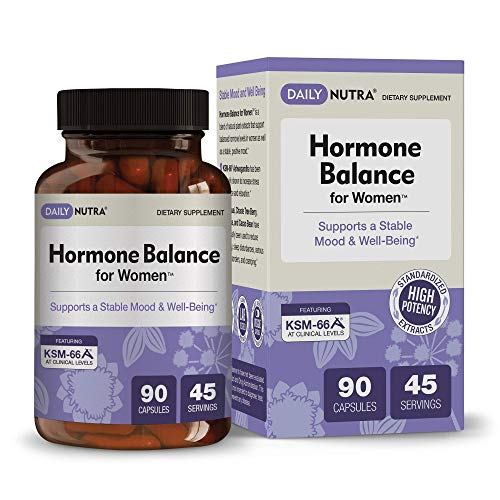 Hormone Balance for Women by DailyNutra - Natural Mood Supplement - PMS Relief and Menopause Support | Featuring Clinically Studied KSM-66 Ashwagandha (90 Capsules)