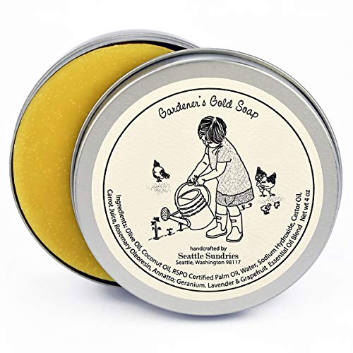 Gardeners Gold Soap-100% Natural Skin Care Bar. Scented with Essential Oils. One 4 oz Bar in a Handy Travel Gift Tin. Great For Green Thumb, Plant, Gardening Fans.